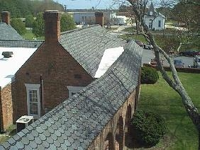 White membrane roof systems were used in flat and low-slope areas.